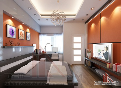 Thiết kế nội thất nhà lô 4 tầng   chị Hương
