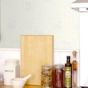 Nội thất nhà bếp đẹp với giấy dán tường