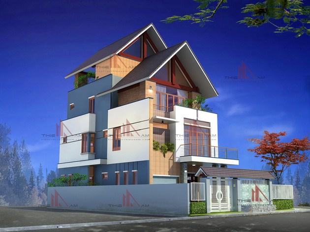 Thiết kế biệt thự phố 3 tầng   Chị Hạnh