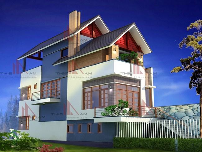 Thiết kế kiến trúc nhà lô 2 mặt tiền 3 tầng   Anh Quỳnh